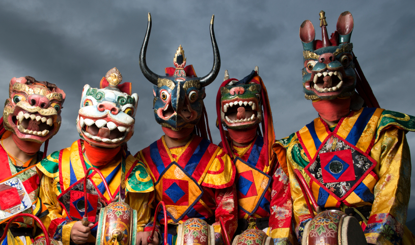 mask dances of bhutan Masks are the embodiment of the wrathful deity particularly in lower altitude and warmer areas such as nepal, bhutan, sikkim, and india in tibet, because of altitude and climate, masks have been made of copper cham dance masks generally have five distinguishing characteristics.